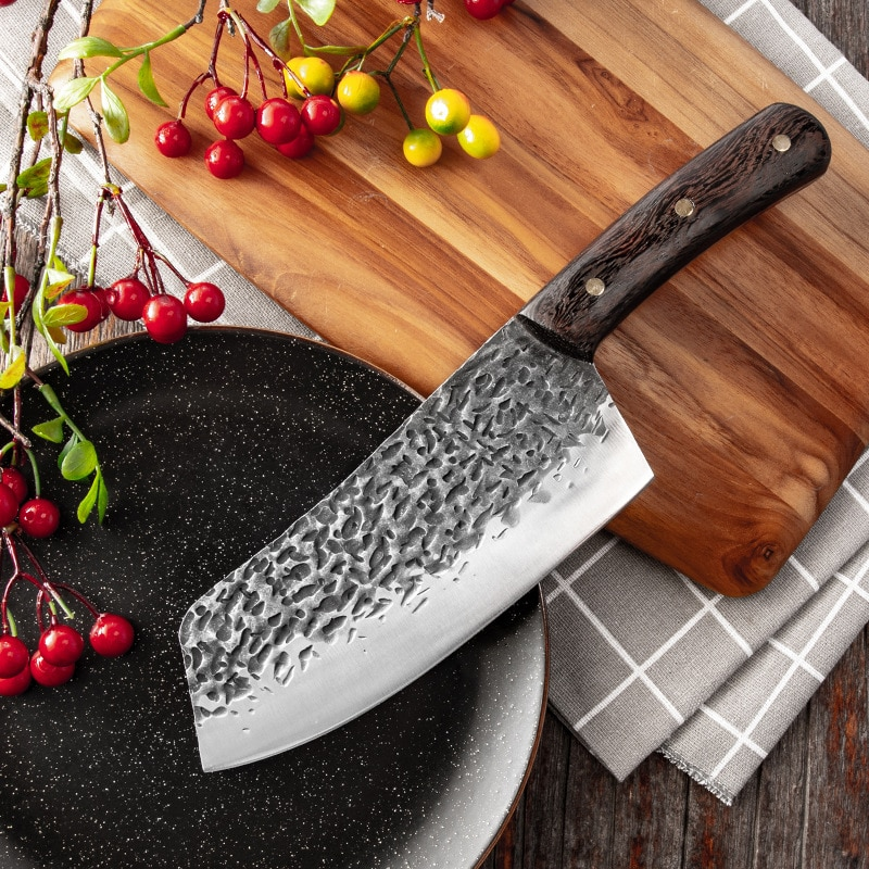 Cuchillo forjado de 7 pulgadas hecho a mano cocina China Chef carne rebanar verduras cuchillo cortar pescado cuchillos para filete de acero inoxidable