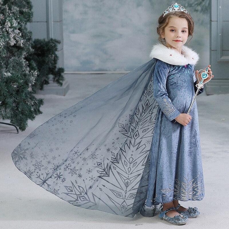 Disney elsa princesa meninas vestido crianças vestidos para meninas natal fantasiar-se traje festa de manga longa menina roupas congelados malha