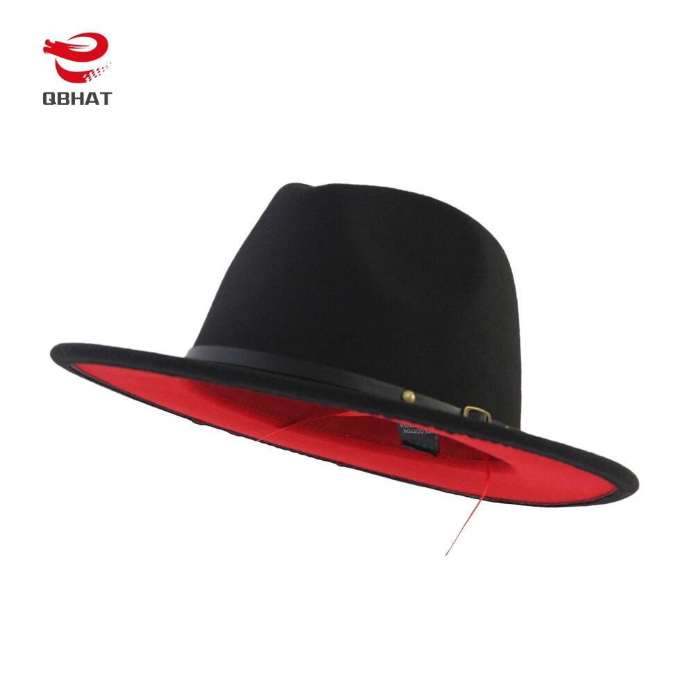 QBHAT negro almazuela roja fieltro de lana Jazz Fedora sombreros cinturón hebilla decoración mujeres Unisex Panamá de ala ancha partido sombrero de vaquero