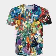 2020 Summer New 3D Printed T-shirt Men Women Tshirt Japanese Animation Top Tees Pokemon T Shirt Kawaii Tshirt Men Asian Size 6XL