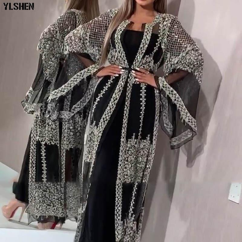 2020 Abaya Dubai Muslim Dress Luxury High Class Sequins Embroidery Lace Ramadan Kaftan Islam Kimono Women Turkish Eid Mubarak