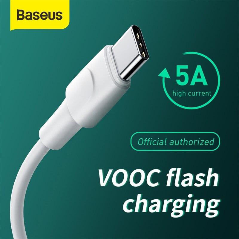 Baseus USB Typ C Kabel Unterstützung VOOC-Ladegerät Daten Kabel Typ-C Ladegerät 5A QC AFC USB Schnelle ladekabel Für xiaomi Huawei
