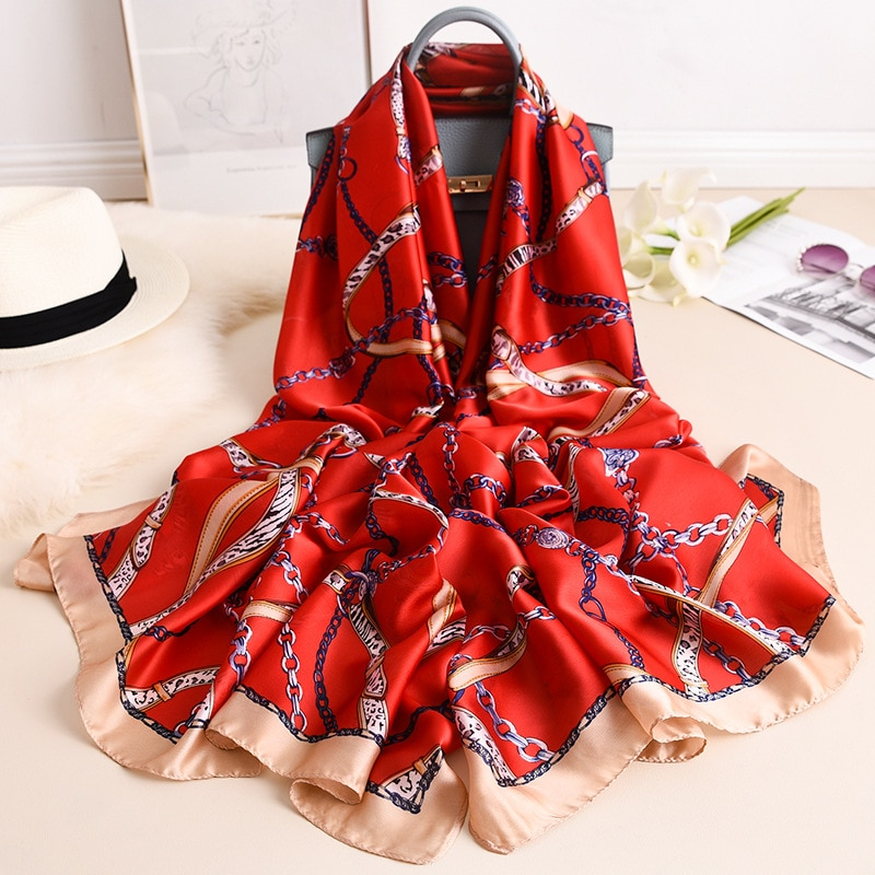 2020 marca de luxo primavera outono real quente cachecol feminino xale moda lenços seda macio impresso lenço chiffon hijab cobertor