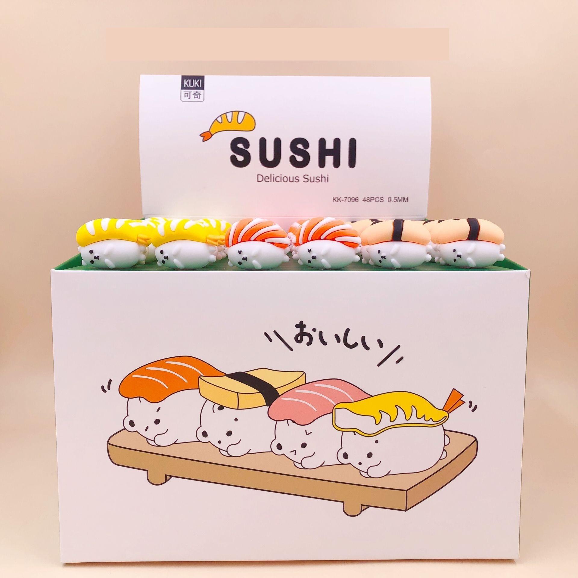 48 unids/lote creativo de sushi comida japonesa gel pluma bolígrafos oficina útiles escolares para estudiantes Regalo de Promoción
