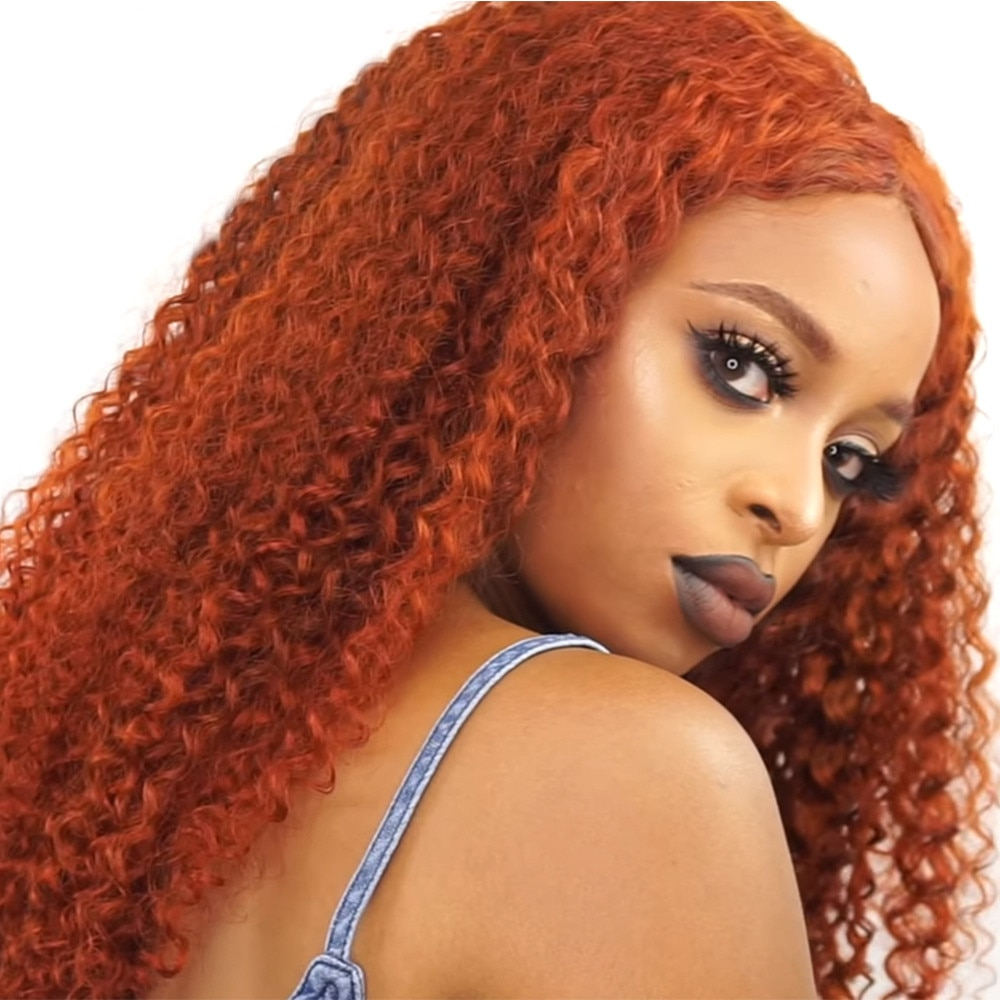 Orange Ginger Color Ginger Orange Ombre Curly Lace Front Human Hair Wigs With Baby Hair Pre Plucked Peruvian Hairs