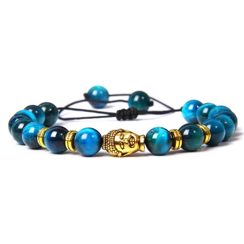 Hecho a mano pulseras de Trenza para hombres Natural Azul Real, Ojo de Tigre, pulsera de las mujeres Buddha Color dorado cabeza brazalete de encanto para parejas