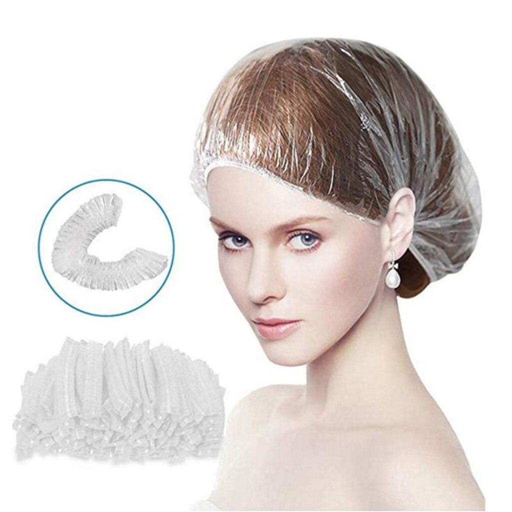 100 шт. Одноразовая шапочка для душа, прозрачная водонепроницаемая волос детей