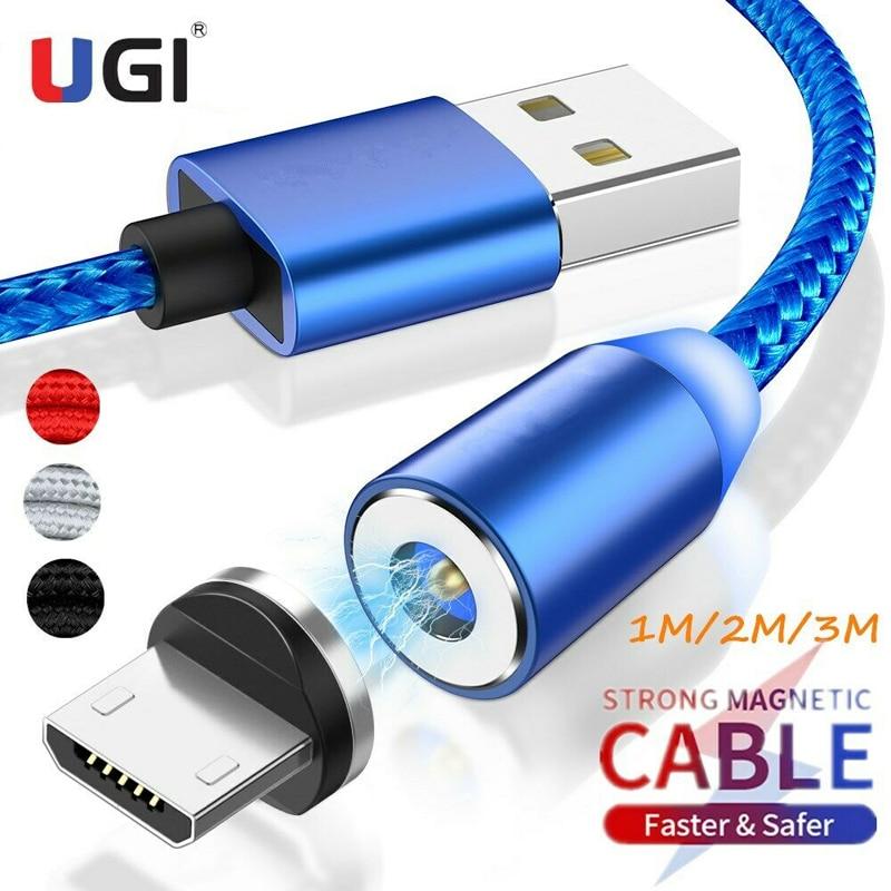 UGI-Cable magnético de carga rápida de 1M, 2M, 3M, 2A, Micro USB...