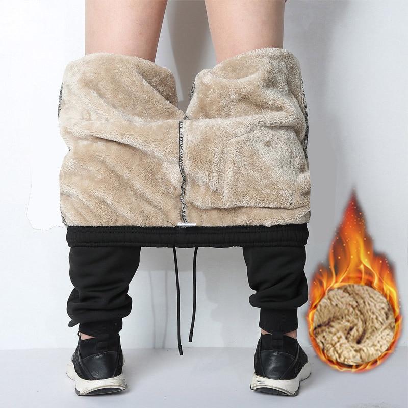 2021 سراويل شتوية رجالية خارجية للركض دافئ ثخن للرجال بنطلون رياضي ثقيل ملابس الشارع من الصوف بنطلون رجالي