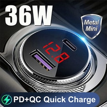 36W QC PD 4.0 3.0 Quick Charge Car Charger for iPhone 12 Mini Pro Max 11 Xiaomi Samsung Huawei Digit