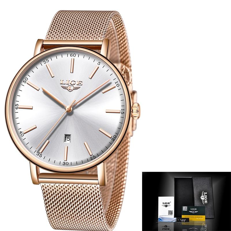 LIGE s Stainless Steel Ultra-Thin Casual Wristwatch Quartz ClockTop Brand Luxury Waterproof Watch  Womens Watches  Fashion Ladie enlarge