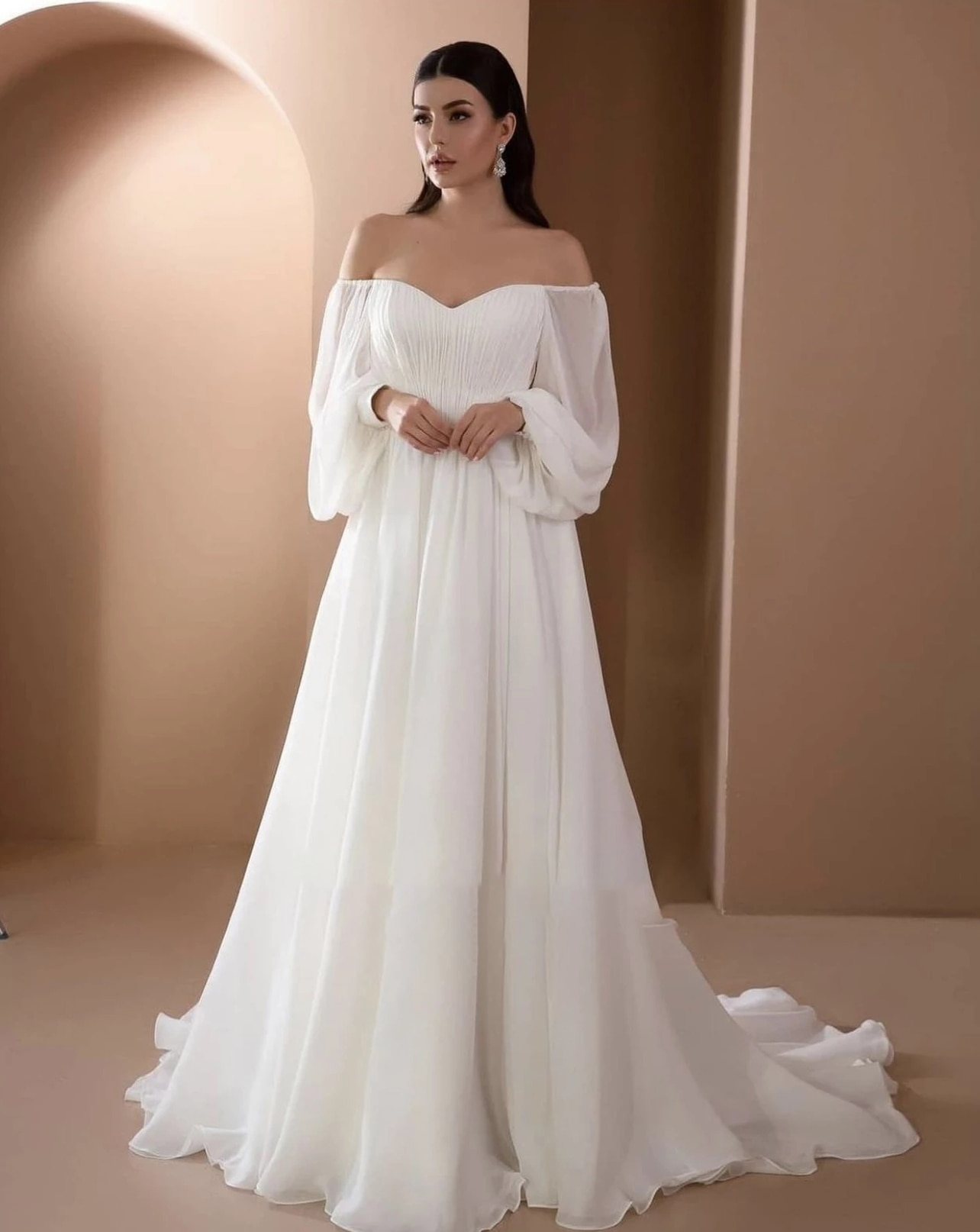 Get Dignified Wedding Dress Chiffon With Sweetheart Train Full Sleeve Backless Zipper With Tailor-maderobe