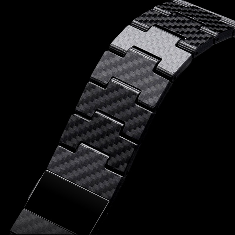 For Apple Watch Series SE 7/6/5/4/3/2/138mm/40mm pure carbon fiber strap fashion business personality retro style 42/44mm enlarge