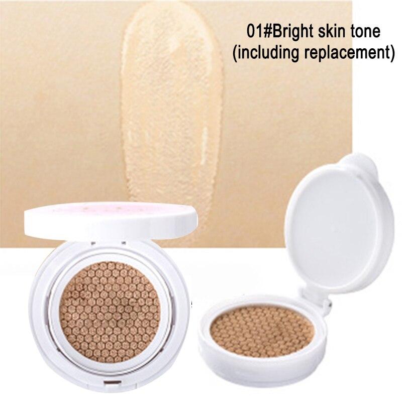 Almohadilla para base CC crema base blanqueadora humectante cojín de aire Control de aceite para maquillaje perfecto QRD88