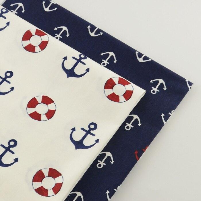 Lote de 2 piezas de telas de algodón de 40cm x 50cm con diseño de ancla Para coser telas de Patchwork baratas Para ropa acolchada