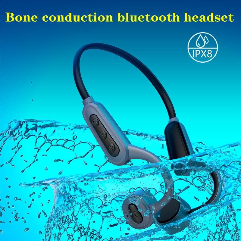 IPX8 Waterproof Swimming Earphones, K8 Bone Conduction Wireless Bluetooth Earphones, 16GB Memory MP3