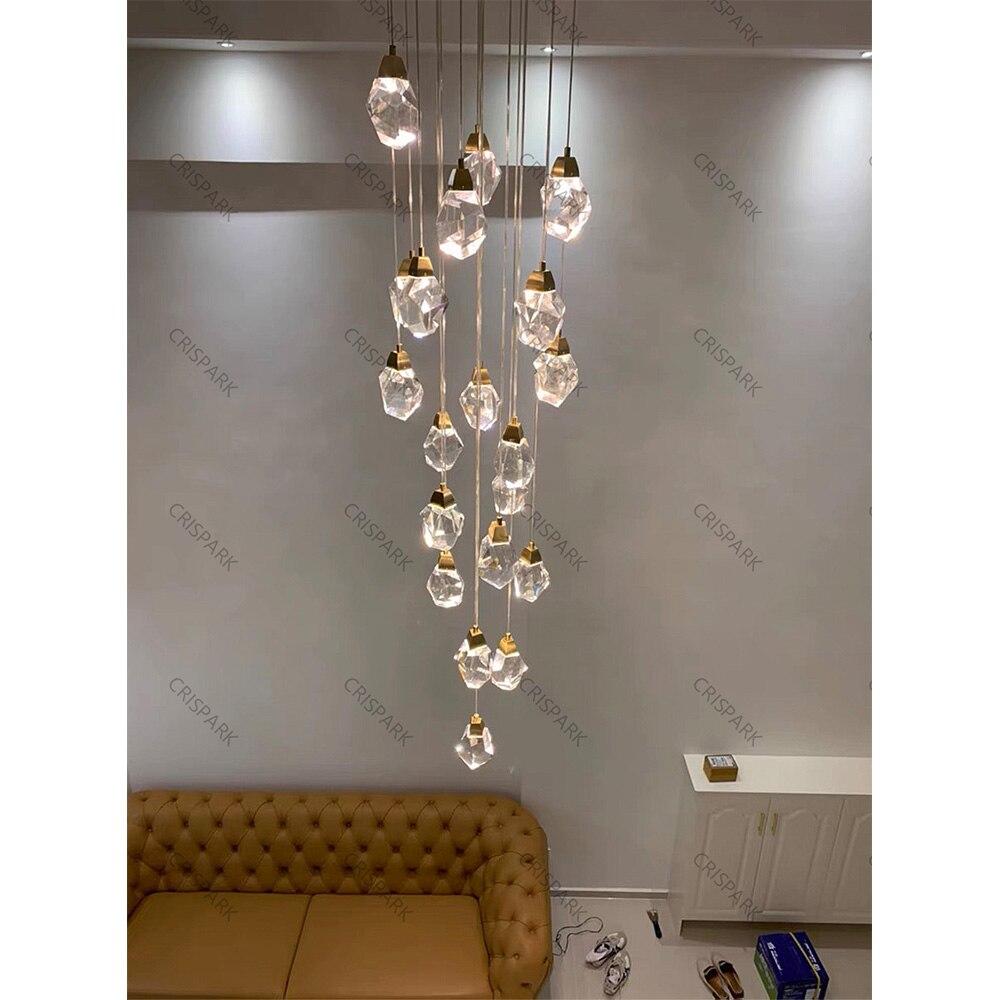 Modern Luxury Diamond Crystal Pendant Light LED Large Cristal Stair Hanging Lamp Indoor Kitchen Island Suspension Light Fixture