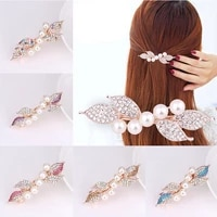 korean pearl rhinestone spring clip colorful flower alloy hairgrips boutique fashion wild hair accessories for women girls
