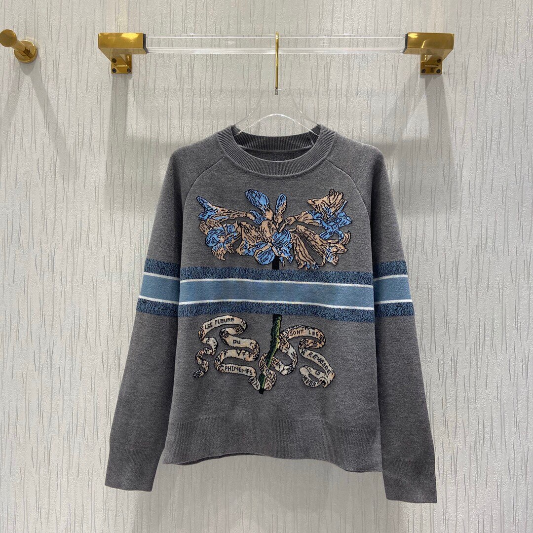 Luxury Design 2021 Cashmere Wool High Quality Elegant Street Style Printed Sweater