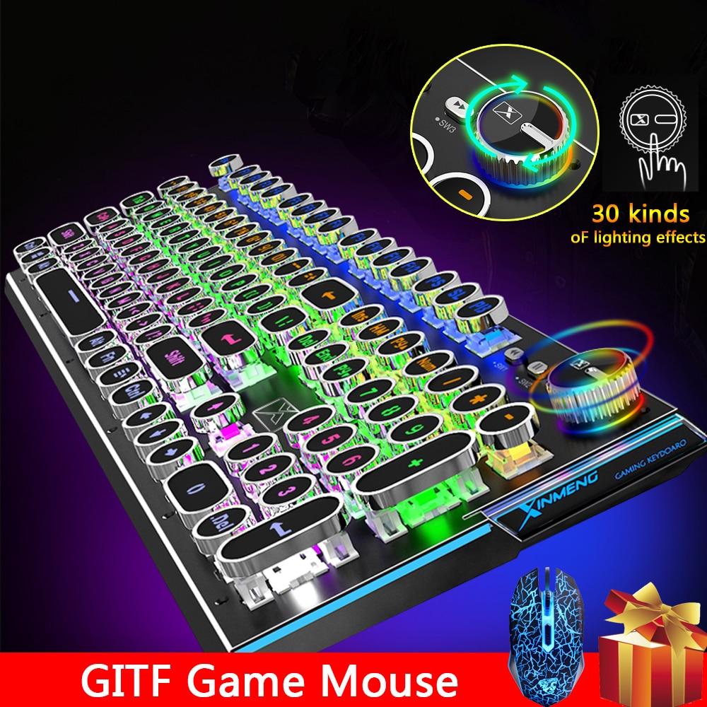 لوحة مفاتيح ألعاب ميكانيكية سلكية 2020 مفتاح USB ، مع إضاءة خلفية ، للكمبيوتر الشخصي ، وأجهزة الكمبيوتر المحمولة ، 104