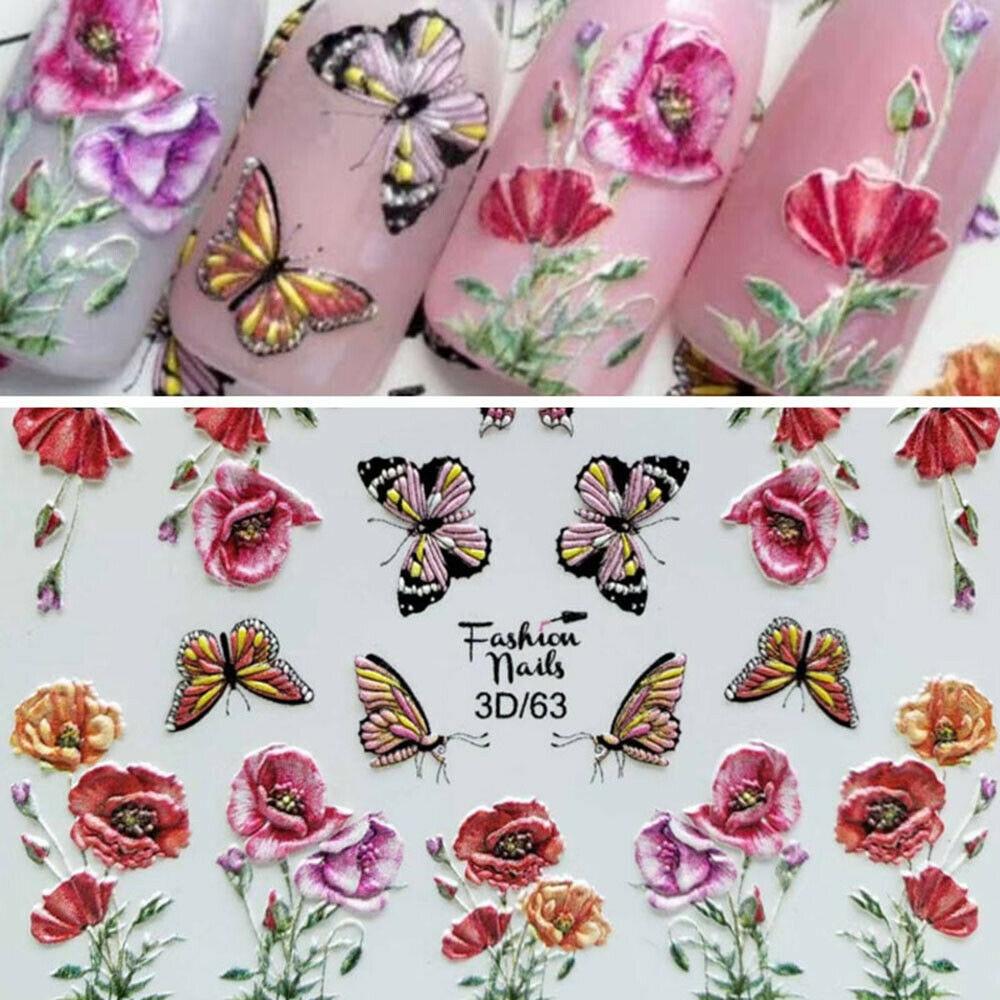5D acrílico grabado Rosa etiqueta para uñas de flor encaje en relieve flor lindo gato pegatinas de agua para uñas tobogán de agua adornos de calcomanías para uñas