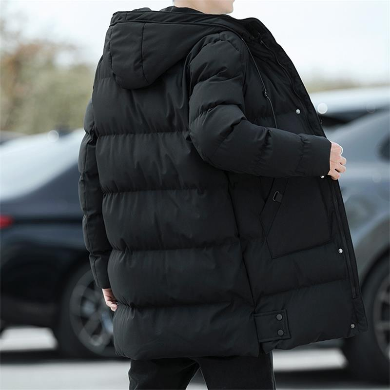 New Winter Mens Parka Jackets Fashion Long Solid Color Men Outerwear Thicken Warm Windproof Men's Cotton Clothing High Quality