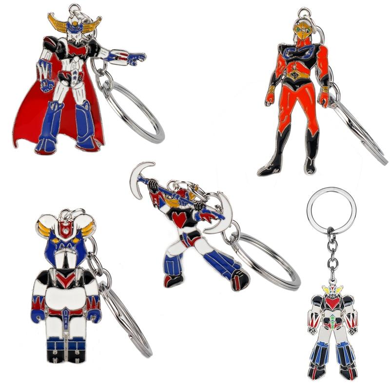 Cartoon Anime Trinket UFO Grendizer Mazinger Z Robot Key Chains Enamel Metal Keychain Women Men Car Keyholder Key Ring Gift
