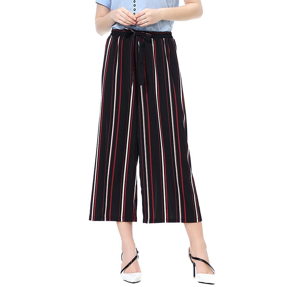 New woman pants Fashion Women Solid Color/Striped Drawstring Wide Leg Trousers Loose Fit Pants femme pantalon брюки женские 2020