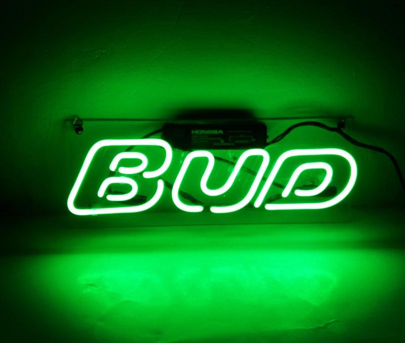 مصباح نيون للديكور المنزلي ، علامة ضوء النيون مع الاسم المخصص ، شريط البيرة ، متجر مفتوح ، شاشة عرض براعم خضراء 12 × 6 بوصة