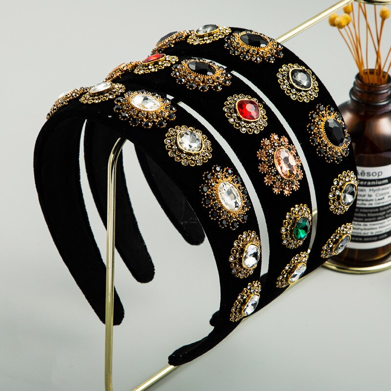Luxury Baroque Rhinestone Headband Pleuche Non-slip Black Wedding Headwear Women Hairband Hair Accessories For Party Wholesale недорого