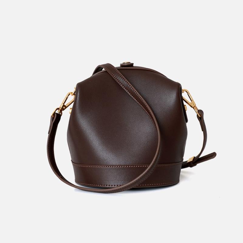 Bolsos de mano de lujo de cuero genuino Bolsos De Mujer bolsos de hombro de diseñador de moda femenina cubo Casual pequeño bolso mujer bolsos de mano