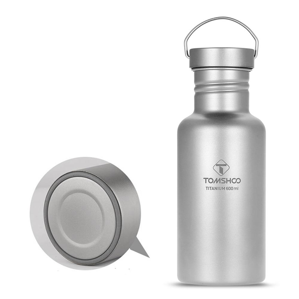 Botella de agua de titanio de doble pared al vacío con tapa de plástico Extra ultraligera exterior para Camping senderismo ciclismo botella TOMSHOO