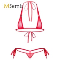womens bikini swimsuit see through mesh strappy micro bikini set triangle swimwear bathing suit for beach sunbath swimming pool