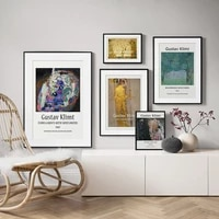 abstract classic gustav klimt museum exhibition poster canvas painting print gallery wall art picture for living room home decor