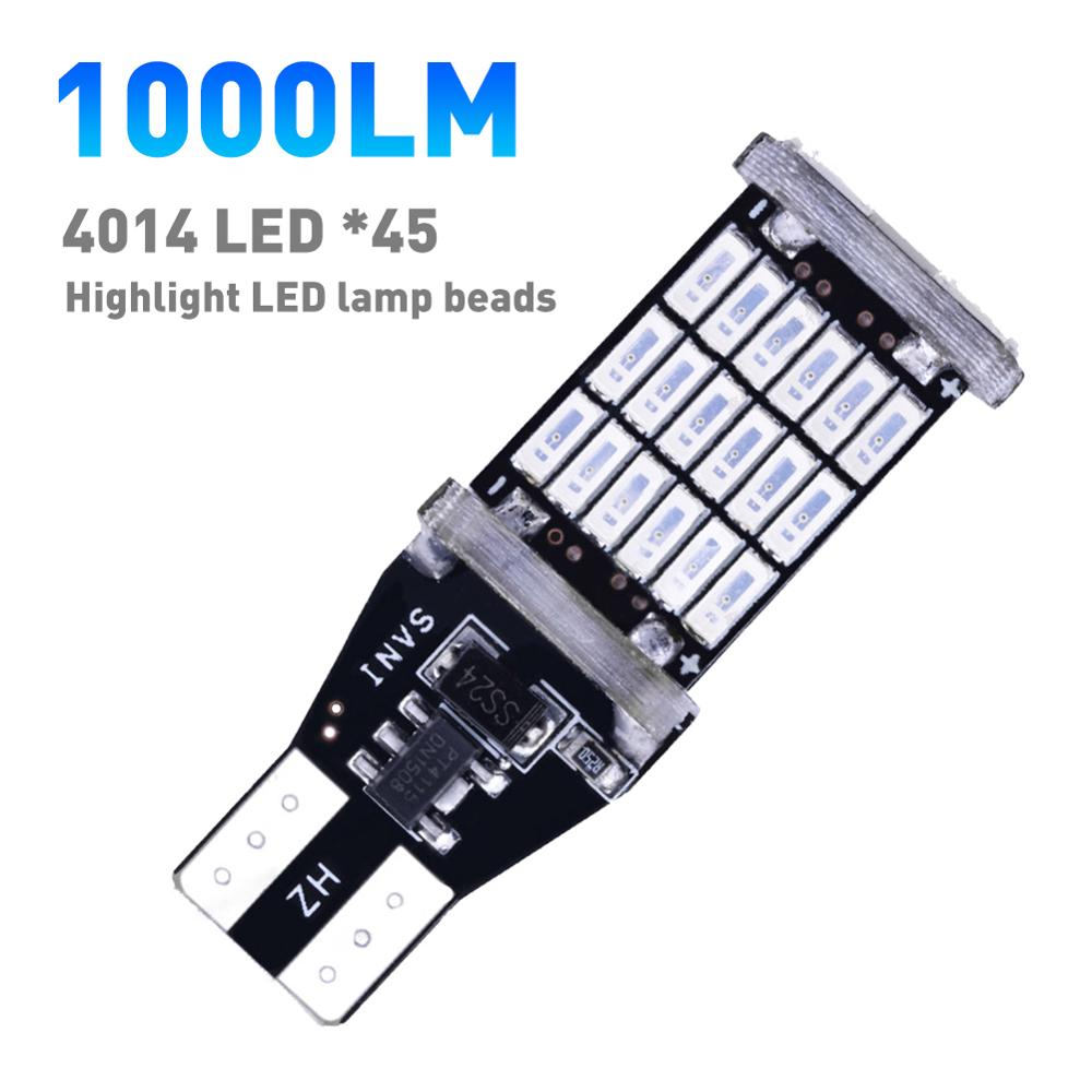 2 pces t15 w16w/921/912 lâmpadas de afastamento do carro led luzes do carro sinal de volta reverso freio ligh lâmpada automóveis 1000lm