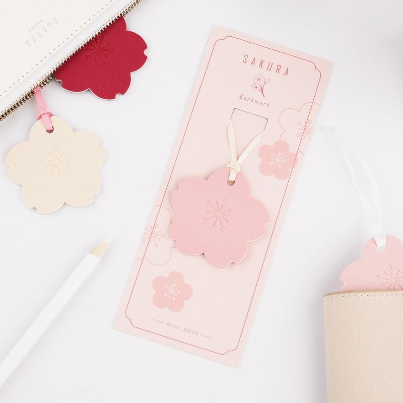 Cute Japan Sakura Fashion PU Leather Bookmark 180mm*70mm Beige Red