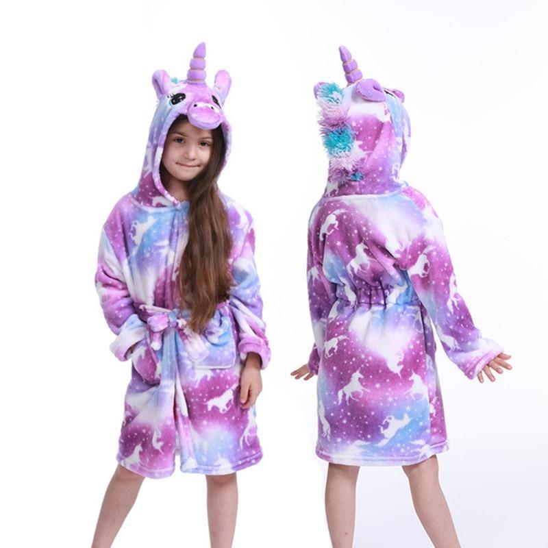 Детский банный халат, детское полотенце со звездным единорогом, банные халаты с капюшоном для мальчиков и девочек, пижама, детская одежда для сна, От 3 до 11 лет