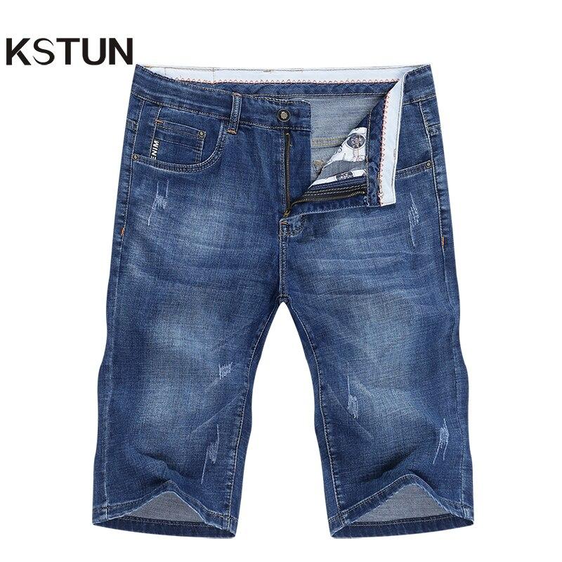 Pantaloncillos vaqueros para verano para hombre recién llegados elásticos azul rayado moda bolsillos Denim Shorts Jeans hombre Slim Fit Casaul Shorts