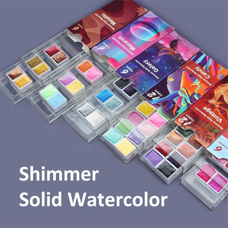 2021 Seamiart 6/12 акварельные краски в наборе металлический блеск для художников, школьные принадлежности, инструмент для граффити твердый пигмен...