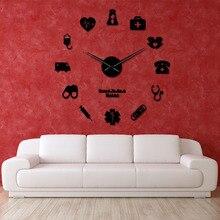 Orgulloso de ser médico enfermera y Kit de enfermera DIY Reloj de pared grande médico Oficina Hospital Arte de la pared Decoración Reloj de pared de las manos largas