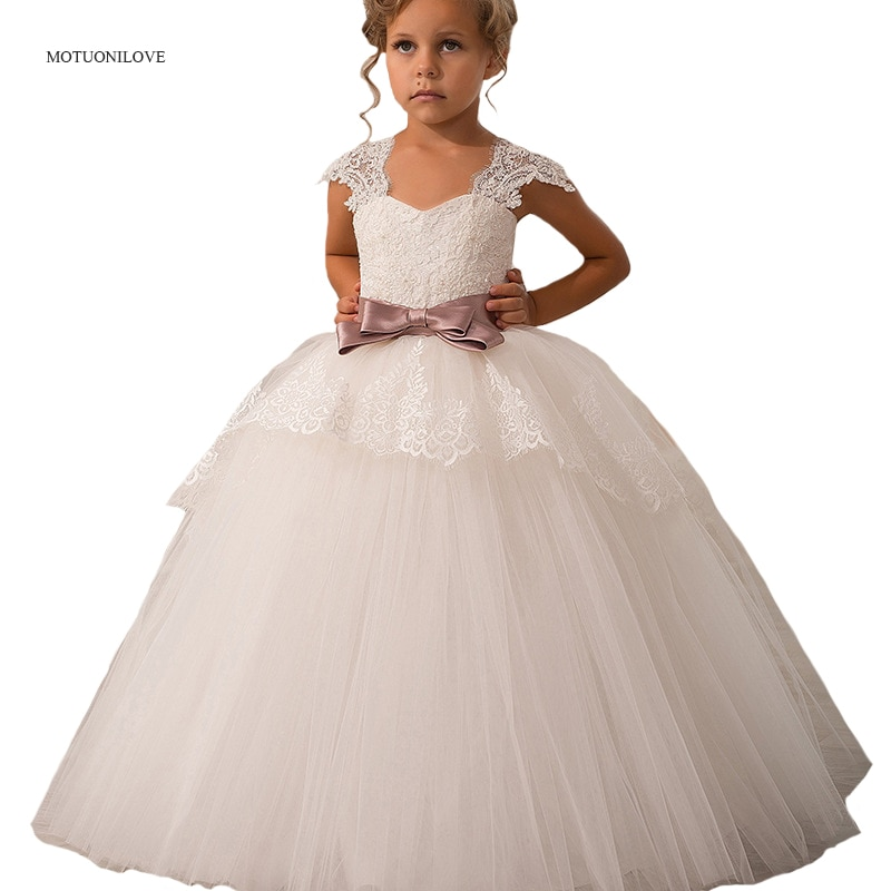 Flower Girls Dresses for Weddings Elegant Children Prom Long Party Dress with Bow Lace Straps Kids Toddler Girl's Evening Dress children flower girls dress princess kids dress with bow summer flower girls wedding party clothes kids prom gowns with necklace
