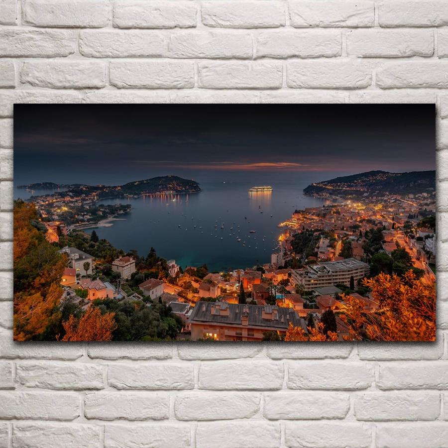 Villefranche sur mer riviera mar mediterrâneo custo noite sala de estar decoração da parede arte casa lona posters kn049