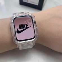 Correa transparente + funda para Apple Watch Series 7 6 SE 5 4 44mm 42mm, correa de plástico para iwatch 3 2 1 38mm 40mm