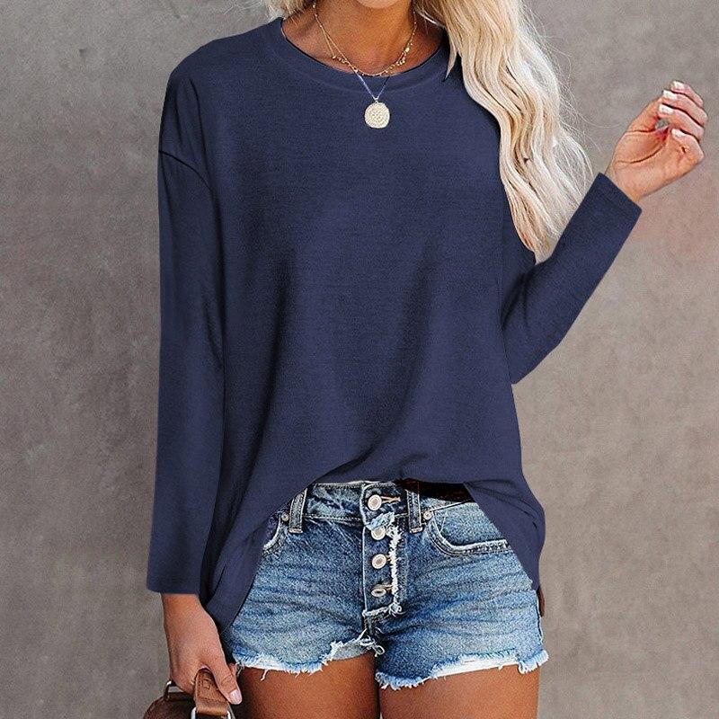 Новинка, Женский Топ с длинным рукавом, свободная элегантная повседневная одежда, однотонные хлопковые футболки с круглым вырезом, женские футболки больших размеров, модные женские футболки