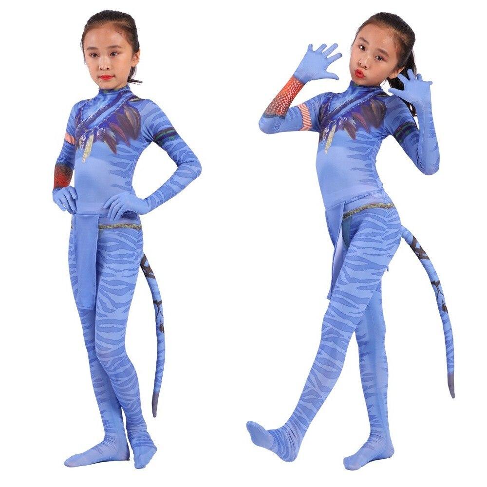 Película Avatar 2 de 2020, trajes de Jake Sully Neytiri para chicas, peleles, Cosplay para mujeres, vestido de Navidad, Disfraces de Halloween para niños