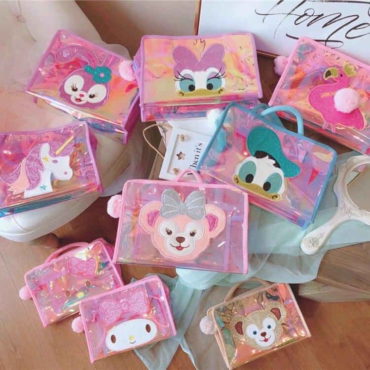 Cartoon Duffy Bear Stellalou Unicorn Flamingo Hello Kitty My Melody Daisy Pvc Cosmetic Bags Storage Mesh Bag Beach Bag Wash Bags