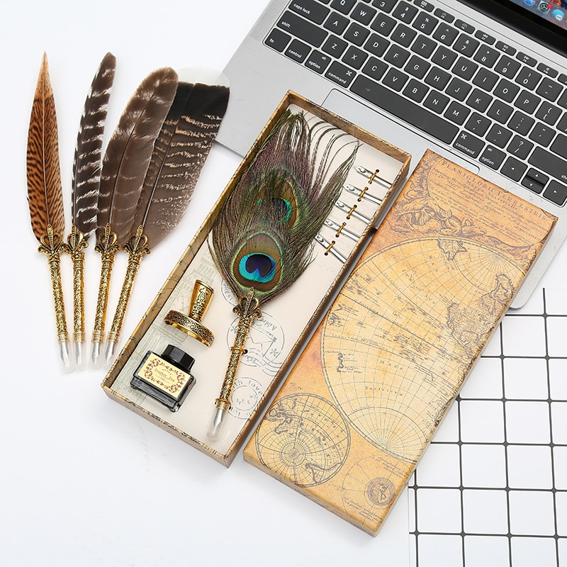 AliExpress - New and unique! Natural peacock feather dip pen set writing ink luxury box customizable LOGO Christmas gift