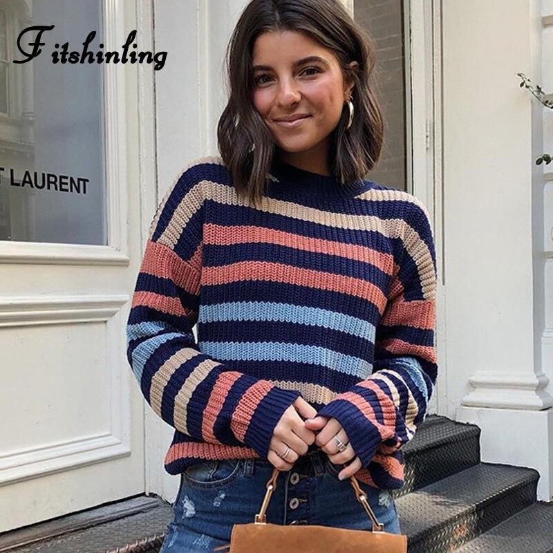 Fitshinling, suéteres y jerseys de rayas Multicolor para mujer, prendas de punto de manga larga, Jersey Delgado, jersey de mujer, suéter de Invierno para mujer