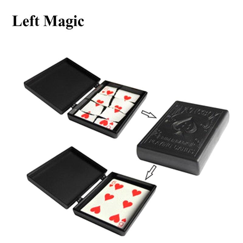 Funda de tarjeta de papel rota caja de trucos de magia caja de plástico negro trucos de magia de primer plano juguetes para los niños adultos