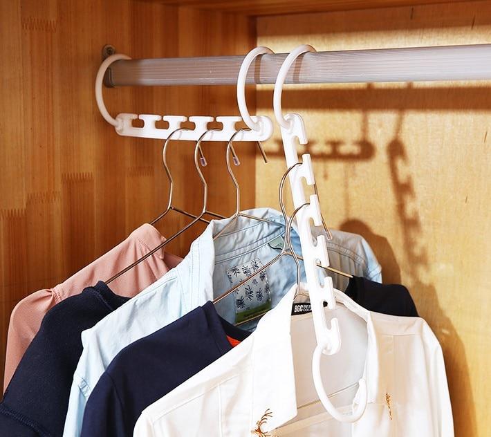 Magic 9-hole soporte círculo percha de ropa tendedero multifunción estante de ropa de plástico perchas de almacenamiento para el hogar